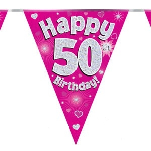 Viirinauha pinkki Happy birthday 50