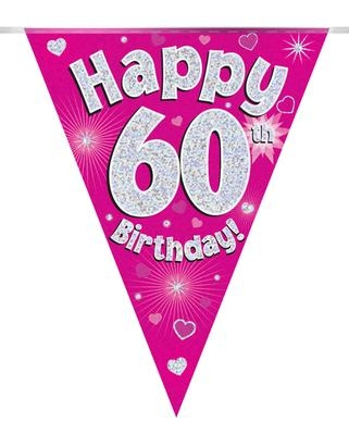 Viirinauha pinkki Happy birthday 60