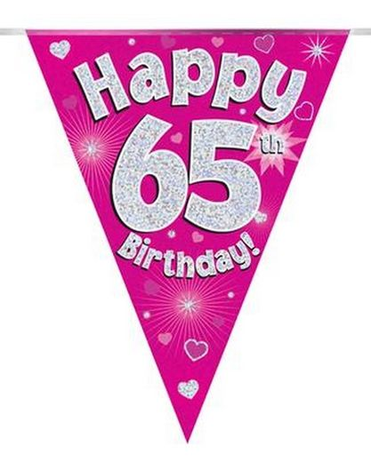 Viirinauha pinkki Happy birthday 65