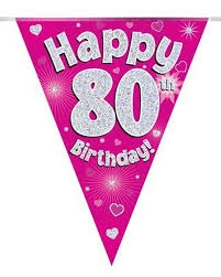Viirinauha pinkki Happy birthday 80