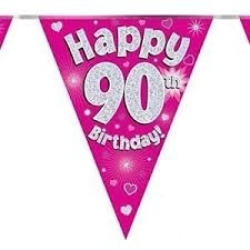 Viirinauha pinkki Happy birthday 90